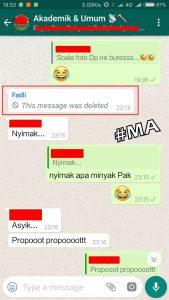 Pilih Chat Delete Fadli