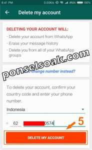 Cara Delete Akun WhatsApp 4